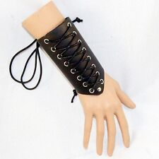 Cross Strings Leather Bracer Arm Armor Cuff Gothic Steampunk Vambrace Costume