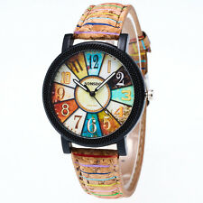 Women's Mens Vintage Harajuku Graffiti Leather Analog Quartz Vogue Wrist Watches