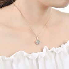 18K Rose Gold GF Swarovski Crystal Four Leaf Clover Lucky Pendant Necklace Chain