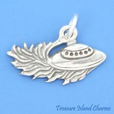 FLYING SAUCER ALIEN UFO .925 Sterling Silver Charm Pendant SPACE SHIP