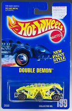 Hot Wheels Collector No. 199 Double Demon Neon Yellow w/UH's Blue Card 1993 New