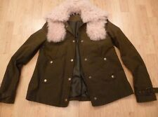 RARE TOPSHOP BEST OF BRITISH REAL SHEEPSKIN SHEARLING GREEN WAX JACKET 6 34 XS