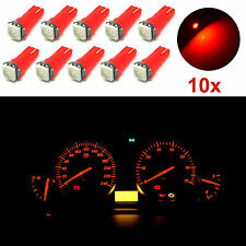10X T5 74 37 17 18 58 Wedge Red 1-SMD LED Dashboard Light Instrument Panel Bulbs
