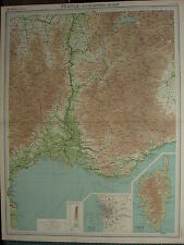 1920 grande carte ~ france south-eastern section marseille nimes alais corse