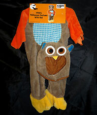 Owl costume with hat - brown with orange yellow - infant size - HALLOWEEN - NIP