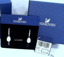 Swarovski Tricia Drop Pierced Earrings, Clear Crystal/Crystal Pearl MIB 5156959