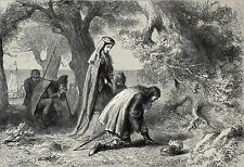THORFIN and GUDRIDA on the SHORE of VINELAND - Engraving of 19th c.