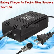 DC 24V 1.6 Amp 50Hz 3-Prong Battery Charger Adapter For Electric Bikes Scooters