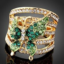 Austrian Crystal 18K GP Emerald Butterfly Fashion Cocktail Rings Size 6