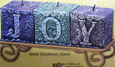 "SET OF 3 BLOCK CANDLES, SPELL OUT ""J- O -Y"" IN A SCROLL STAND  BRAND NEW IN BOX"