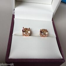 4pin 14k ROSE GOLD gf stud earrings 6.5mm round HONEY CITRINE gift  Plum UK B02
