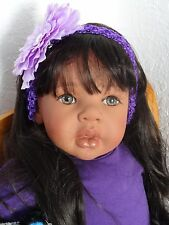 "Reborn 22"" ethnic/hispanic/biracial toddler girl doll ""Thalia pretty in purple"""