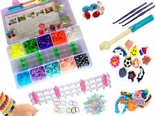 2000 Rubber Loom Bands 1 big hook+40 S-clips+loom+10charms NEW