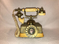 VINTAGE IVORY & GOLD MID CENTURY ROTARY DIAL ANTIQUE STYLE PHONE MADE SINGAPORE