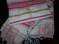 Pink & Gold Messianic Jewish Tallit Talit Prayer Shawl & Talis Bag - 72*22
