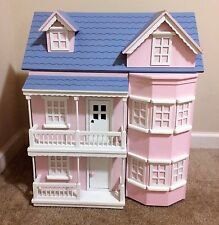 Victorian Wooden Pink Dollhouse House with Furniture Heavy RARE HTF by PT Kids!