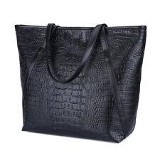 Damen Frauen Krokodil Muster Handtasche Tote Schultertaschen Damentasch Schwarz