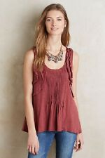 NWT ANTHROPOLOGIE DELETTA CRIMSON SLEEVELESS PLEATED RUFFLE TANK TOP SZ:SMALL