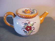 VINTAGE HAND-PAINTED CRACKLE FINISH W BLUE BIRD  FLOWERS JAPANESE POTTERY TEAPOT