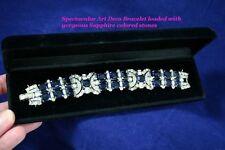 Fantastic HIGH ART DECO KTF TRIFARI DeROSA Chunky Sapphire Rhinestone Bracelet