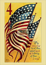 REPRINT PICTURE of old postcard 4TH OF JULY MY COUNTRY TIS OF THEE usa flags 5x7