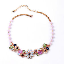 NEW - Anthropolo​​gie Fortuna Flower Bed Pink Purple Blue Green Gemmed Necklace
