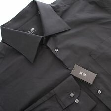 NEW HUGO BOSS Black Label Two Ply Cotton Point Collar Dress Shirt Black Size 17