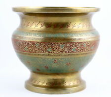 Vintage Brass Etched Vase Urn Floral Leaves Design Red Green Made in India