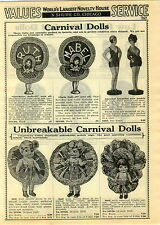 1929 PAPER AD Canival Dolls Sheba Bobby Gloria Peggy Ruby Ruth Mabel Bathing