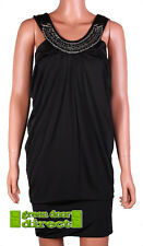 Gossip Black Beads & Chains Neck Stretch Fit Drape Dress XS 8  Free UK Ship BNWT