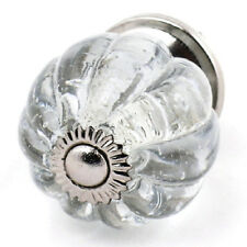8 Clear Glass Cabinet Knobs, Chic Round Drawer Pulls Furniture Handles K10-2NDS
