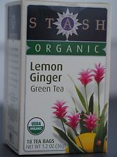 Stash Tea, Organic, Lemon Ginger, Green Tea - 18 Tea Bags