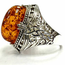 Celtic Style Naturalistic Knot Honey Amber Ring 925 Sterling Silver 8