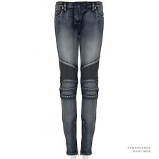 Balmain Faded Blue Wash Denim Skinny-Fitting Zipped Hem Biker Jeans FR38 IT42