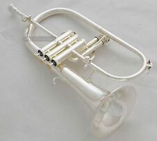 Sale!!! Professional Silver Plated Flugelhorn Monel Valves Bb Trigger Horn +Case