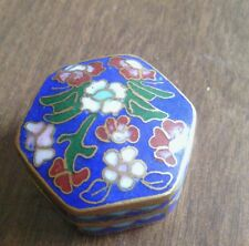 Small cloisonne box,  1 1/4  measures. blue with flowers