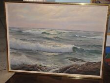 "CHARLES VICKERY Original Oil Painting on Canvas Seascape Ocean 28""x38"" Large"