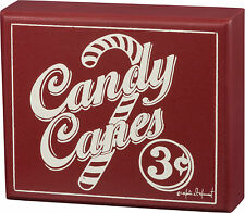 "PBK Wooden 6"" x 5"" Box Sign ""Candy Canes 3 Cents"" Retro Vintage Christmas"