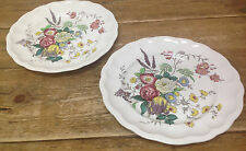 """Gainsborough Spode Great Britain S245 Floral 2 Large Dinner Plates Brown 10 5/8"""""""