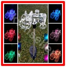 1-Piece Solar Acrylic Tractor Garden Stake Pathway Lawn LED