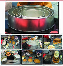 "SET OF 4-PIECE ROUND SHAPE CAKE BAKING PANS BY EURO TINS 6"" 8"" 10"" 12"" (3"" DEEP)"