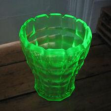 "Uranium Glass Green Depression Glass UV tested 6.5"" Ribbed Art Deco Vase"