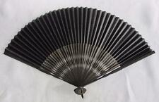 ANTIQUE VICTORIAN LACQUERED & PAINTED BAMBOO & PAPER MOURNING FAN c1900