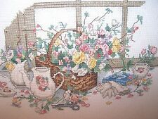 COMPLETED FINISHED PAULA VAUGHAN GARDENING FLOWERS CROSS STITCH PICTURE