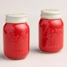 Mason Jar Salt and Pepper Shakers Vintage Red Retro Set of 2 NEW