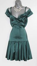 Karen Millen Emerald Green Bardot Neckline With Thin Straps Frill Hem Dress UK-8