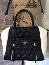 Betsy Johnson Black & White Quilted Heart Purse Medium Handbag w/ Gold Zippers