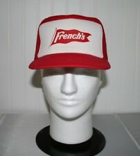 Vintage French's Trucker Hat Cap Red Insulated Foam Hi-Top Hipster Flat Brim