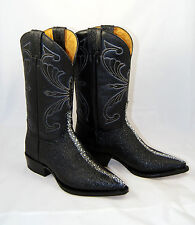 WOMENS WESTERN COWBOY BOOTS IMITATION EXOTIC MANTA RAY BLACK LEATHER SIZE 9 NEW
