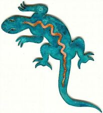 "COPPERCUTTS Lizard Wall Plaque 3.5"" x 8"" Rustic SouthWest Style Copper and Wood"